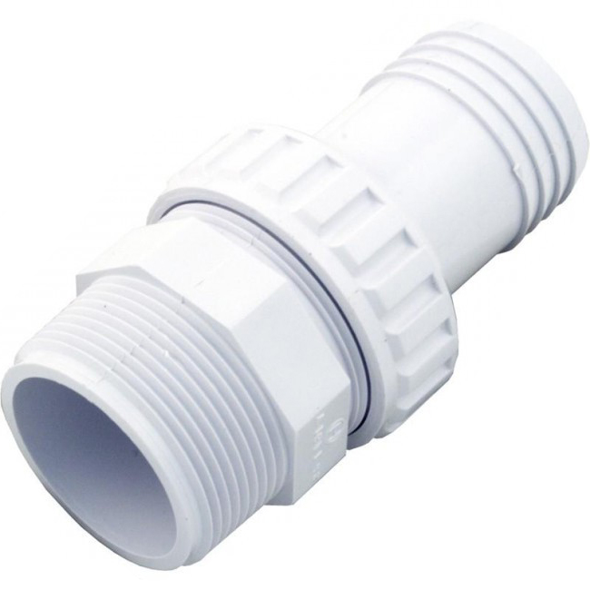 SP1493-U-A Hayward 1.5 Inch MIP x 1.5 Hose ABS Plastic Barbed Hose Fitting White (Open Box)