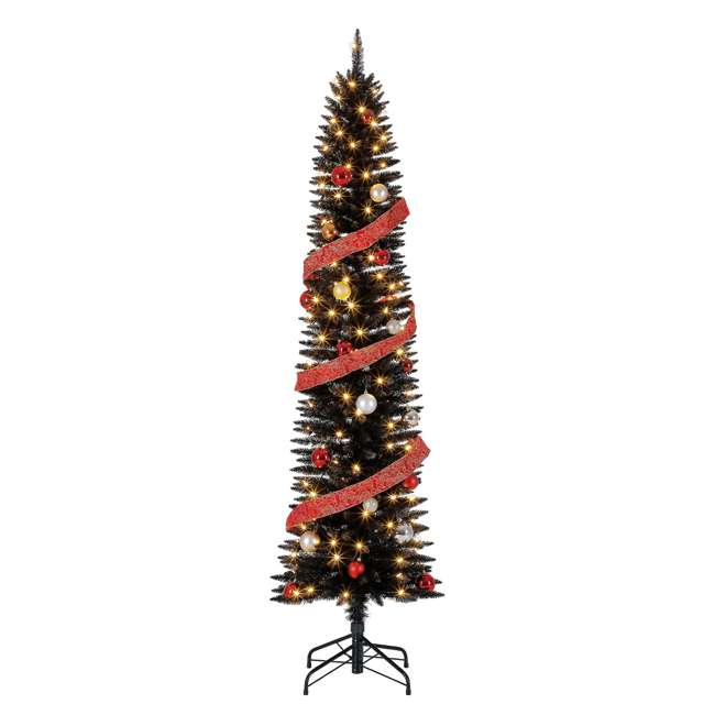 TV70CZ046L05 Home Heritage 7 Foot Pencil Artificial Tree with Warm White LED Lights, Black 2