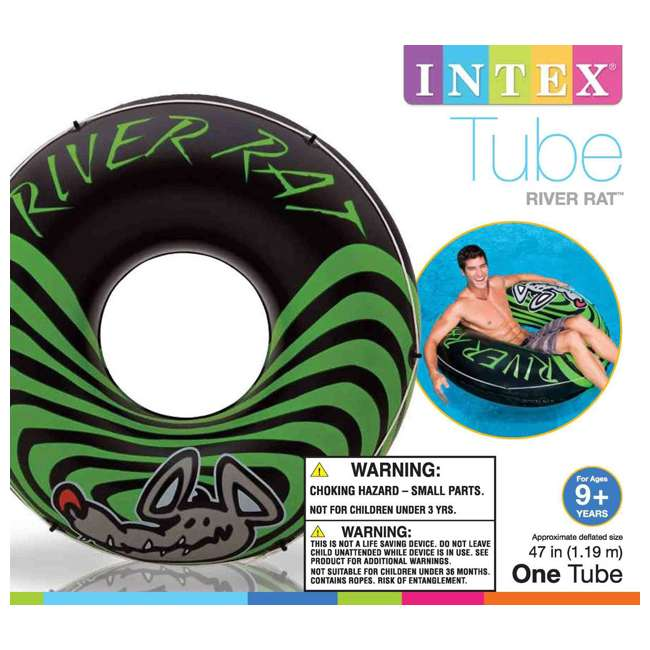 9 x 68209EP INTEX River Rat Inflatable Floating Tube Raft (Open Box) (9 Pack)
