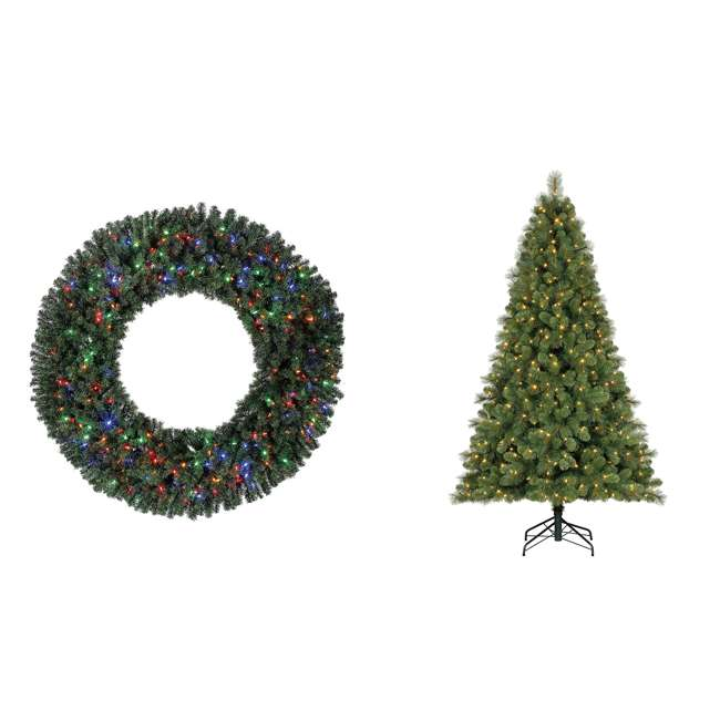 GD5000CYKD00 + TG90M3W92D00 Home Heritage 60 Inch Christmas Wreath with 9 Foot Artificial Christmas Tree