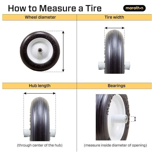 6 x MRTN-00316 Marathon Tire 8-Inch Swivel Caster with Flat Free Tire (6 Pack) 2