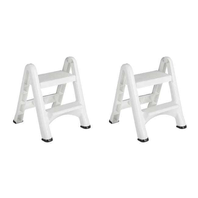 FG420903WHT Rubbermaid EZ Step 2 Step Folding Step Stool with Foot Pads, White (2 Pack)