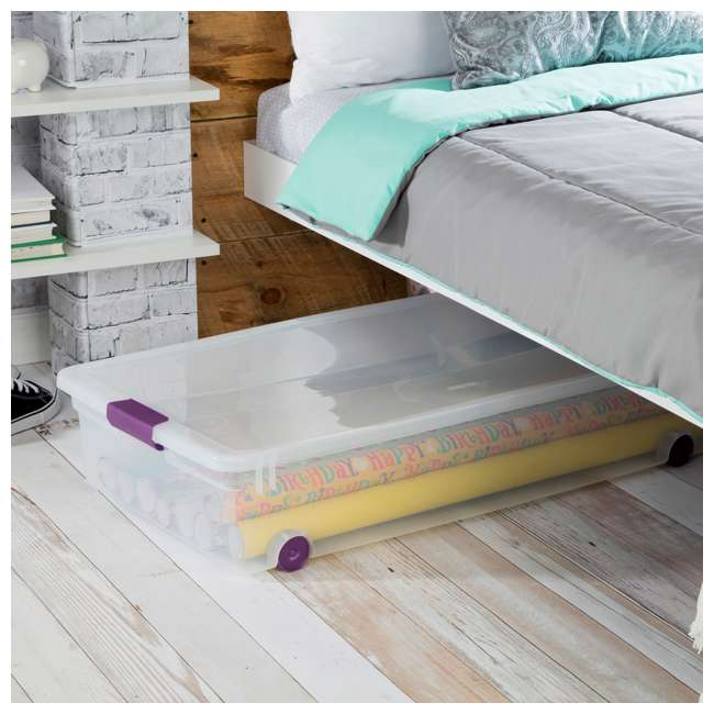 4 x 17611704-U-A Sterilite 60 Quart ClearView Latch Lid Wheeled Underbed Box (Open Box) (4 Pack) 3