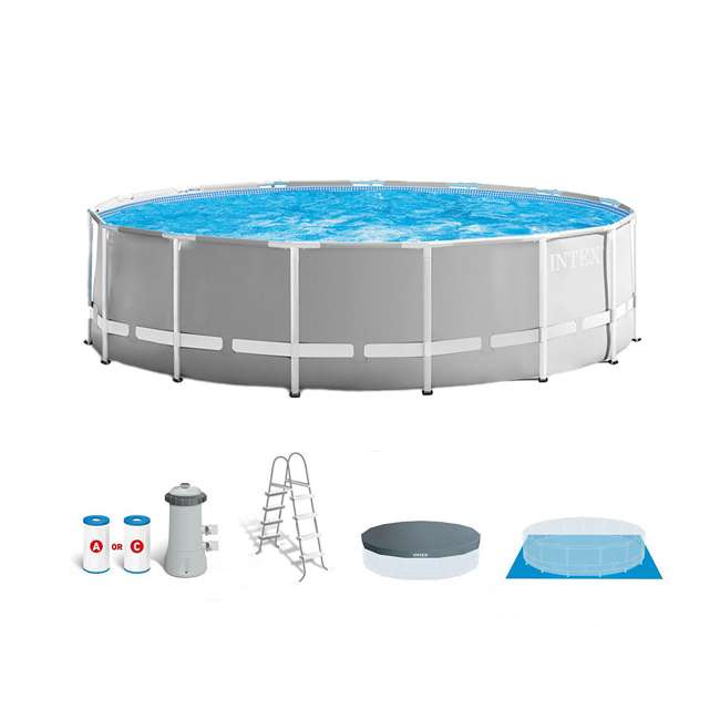 26725EH + 28002E Intex Above Ground Pool w/ Ladder, Cover & Kit 2