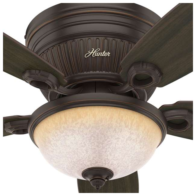 53253 Hunter Ashmont Low Profile 52 Inch Ceiling Fan w/ Light & Chain, Onyx Bengal 1
