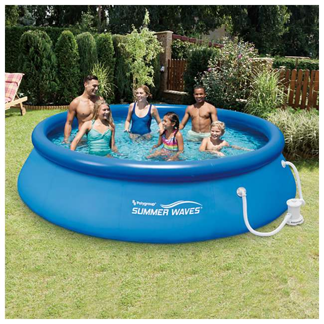 Summer waves 12 foot quick set inflatable ring pool with - Inflatable quick set swimming pool ...