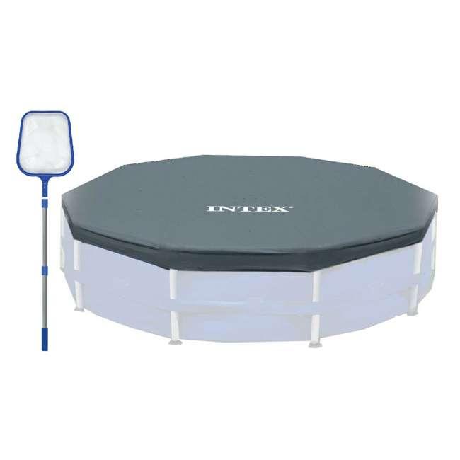 8051 + 28031E HydroTools 4' Skimmer Net + Intex 12' Round Frame Easy Set Pool Cover