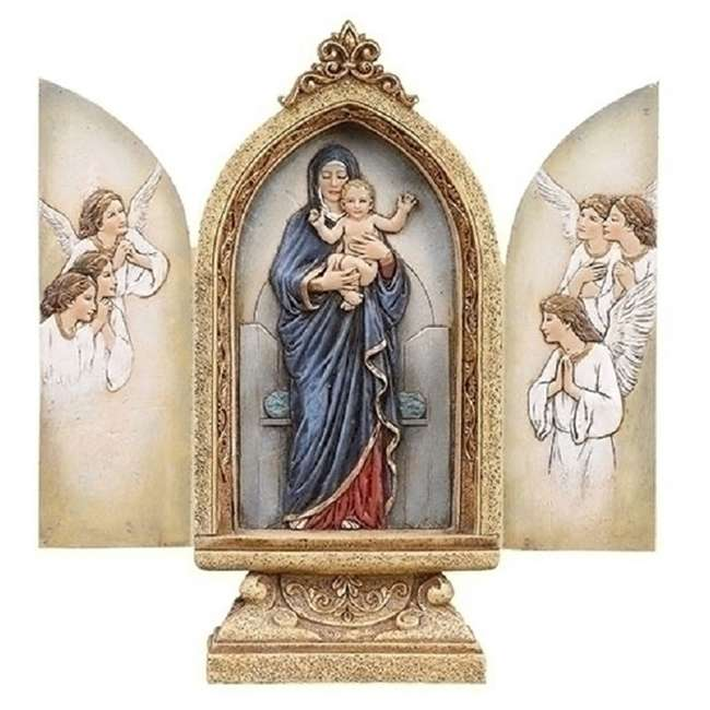 RM-41440 Roman Madonna and Child Triptych 9 Inch 3 Panel Art