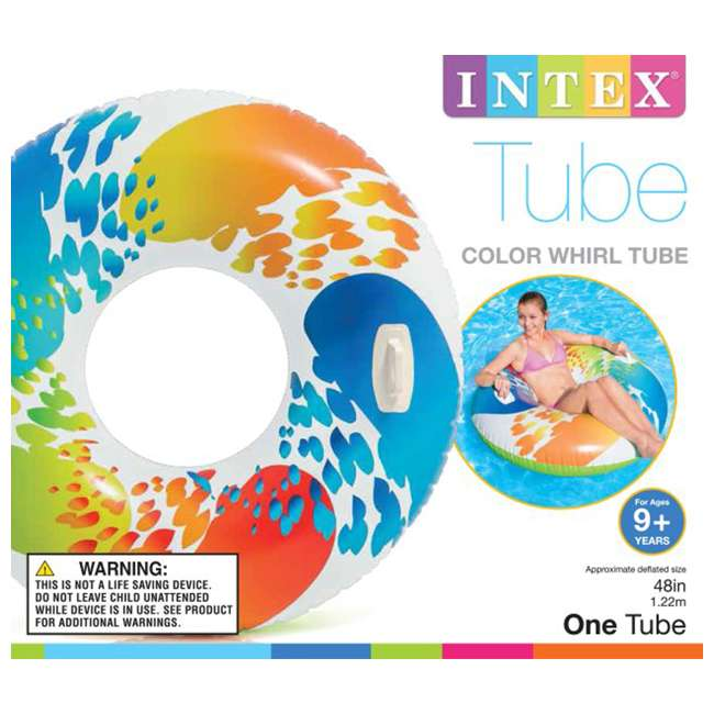 6 x 58202EP-U-A INTEX Inflatable Color Whirl Floating Tube Raft with Handles - Open box  (6 Pack) 2