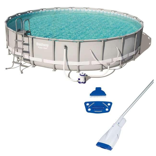 56392E-BW + 58422E-BW Bestway Power 22 x 4.3 Foot Swimming Pool w/ Pump & Filter & Bestway Pool Vacuum