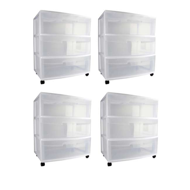 4 x 29308001 Sterilite 3-Drawer Wide Storage Container (4 Pack)