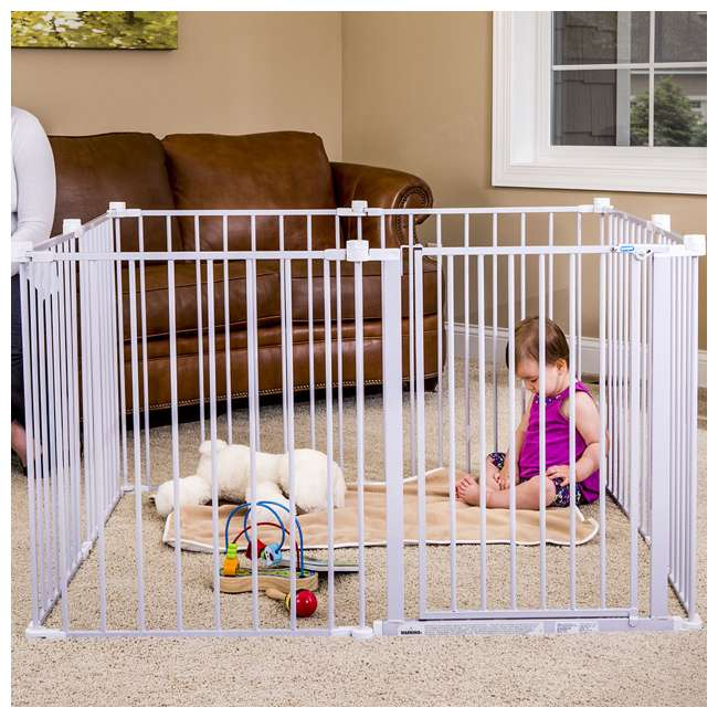 REG-1350DS Regalo 192 Inch Super Wide 4 In 1 Adjustable Baby Gate and Play Yard, White 5