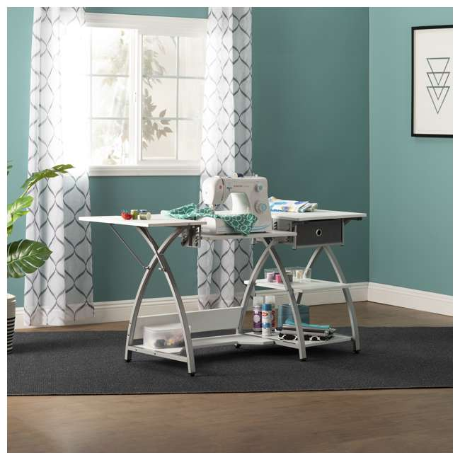 STDN-38018 Sew Ready STDN-38018 Venus Sewing Machine Craft Table Computer Desk, Silver 3