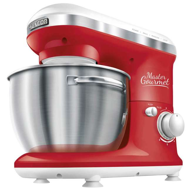 STM3624RD-NAA1 Sencor STM 3624RD 4.2 Quart 6 Speed Food Mixer with Stainless Steel Bowl, Red 1