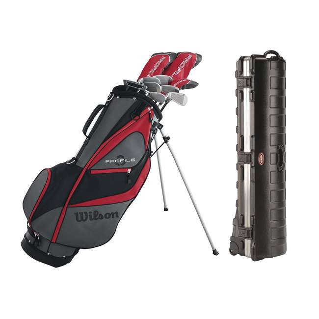 WGGC5800L + 2SKB-1649W Wilson Men's Left Handed Golf Club Set & Wheeled Travel Case