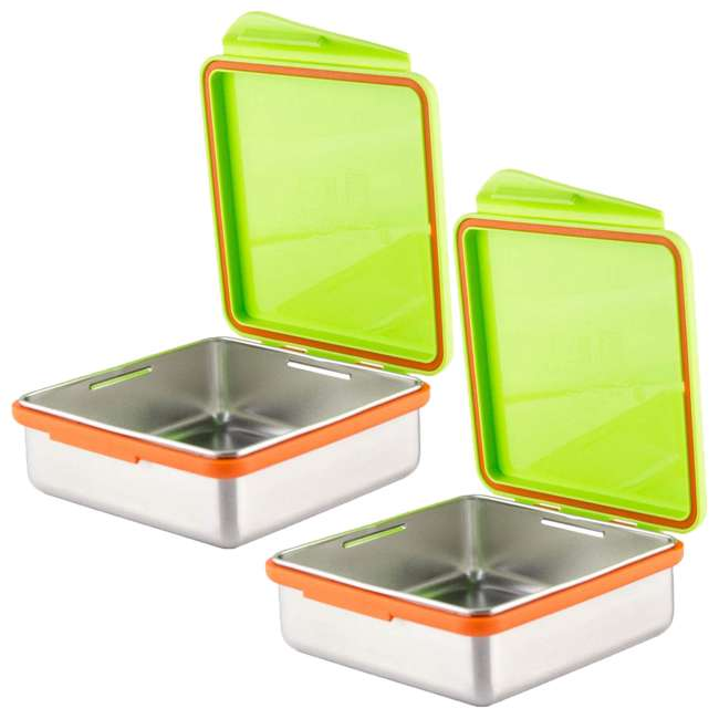 894148002817 Kid Basix Safe Snacker Kids 23 Ounce Stainless Steel Lunch Box, Lime (2 Pack)