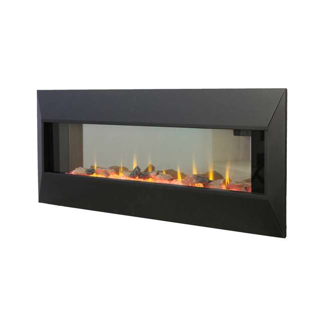 HW93233SMQR Lifesmart HW93233SMQR 42 Inch Infrared Wall Mount Electric Fireplace, Black 1