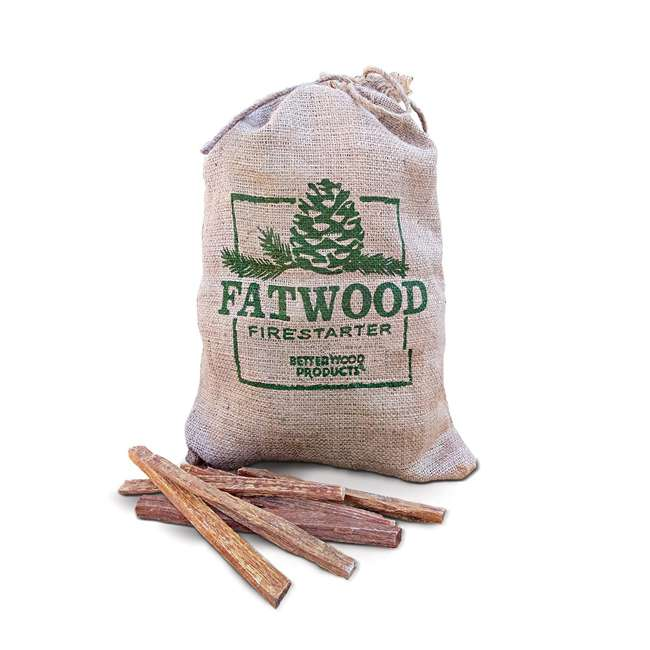 BWP-09908 BetterWood Products Fatwood Firestarter Natural Waterproof Burlap Bag, 8 Pounds