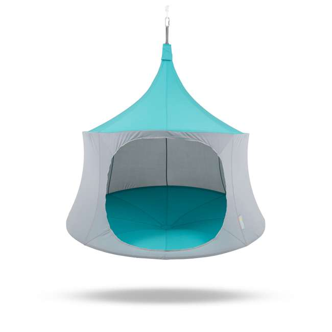 TP1600AM + BYHT9001 TreePod Cabana 6' Hanging Mesh Daybed Tent, Aquamarine w/ Stand 1
