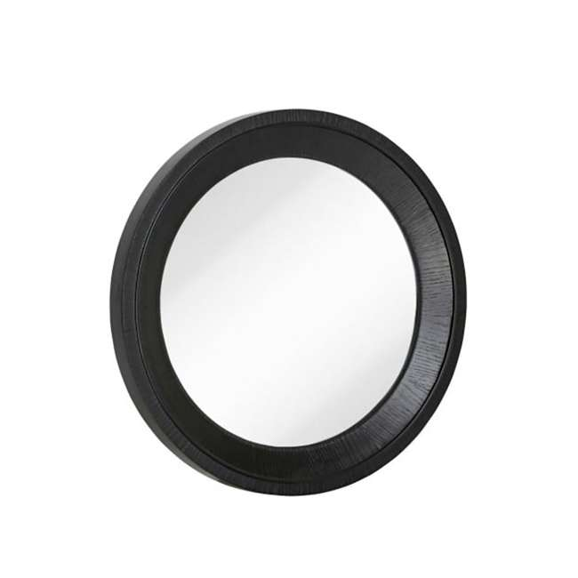 2543-P Majestic Mirror Black Round Wood Hanging Wall Mirror