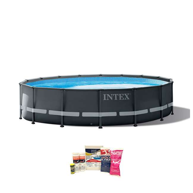 26325EH + QLC-42003 Intex 16ft x 48in Ultra XTR Frame Above Ground Pool w/ Pump & Cleaning Kit