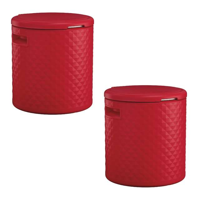 BMDC1000RD Suncast 54 Quart 60 Can Round Outdoor Patio Cooler, Side Table, & Stool (2 Pack)