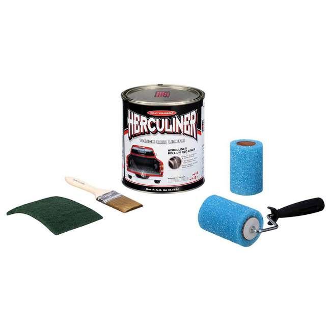 HCL0B8 Herculiner HCL0B8 Liquid Black Truck Bed Liner 1 Gallon Brush and Roller Kit