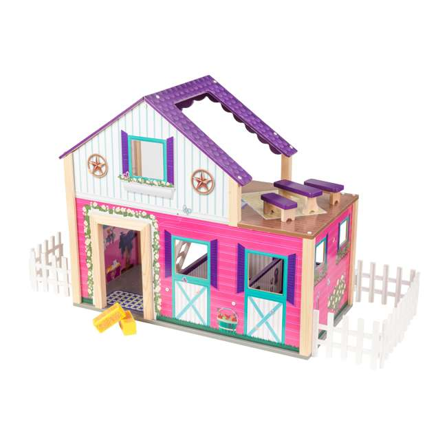 63602 KidKraft Kids Deluxe Toy Horse Stable Wooden Barn Doll House Play Set with Fence 8