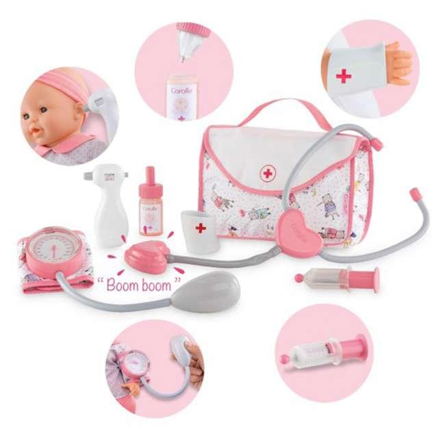 FRV09 + FPK17 Corolle Mon Grand Poupon 5 Piece Large Toy Pediatrician Doctor Set w/ Eloise Doll 1