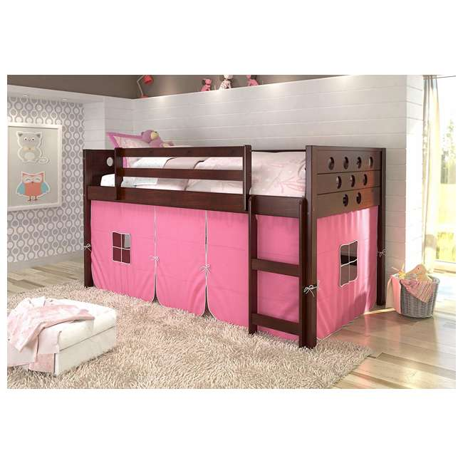 780A-TCP-750C-TB Donco Circles Low Loft Bed with Pink Tent, Twin, Dark Cappuccino