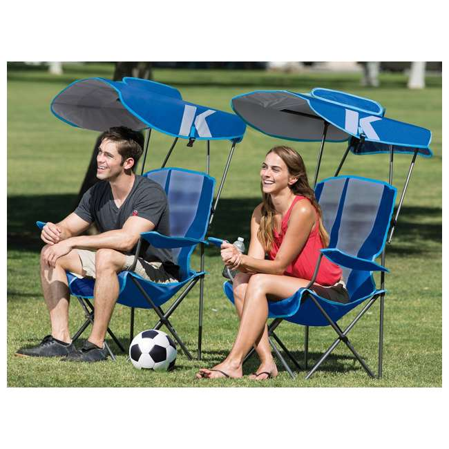 80185 + 80187 Kelsyus Premium Portable Camping Folding Lawn Chairs with Canopy, Blue & Black 3