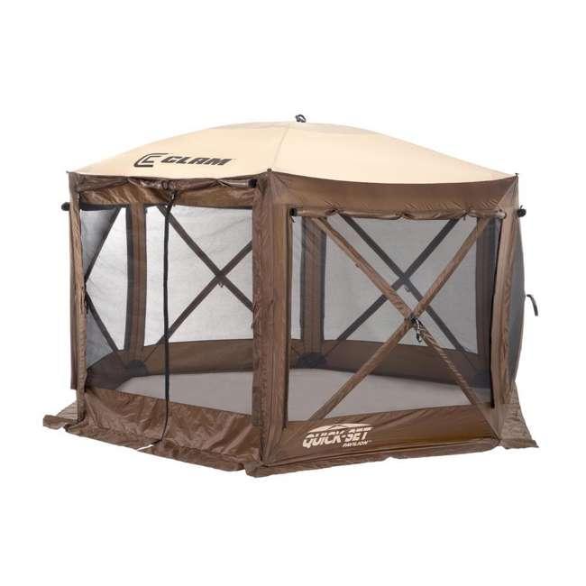 CLAM-PV-9882 + CLAM-PV-FLOOR-12878 Clam Quickset Pavilion Camper Brown Tent and Floor Tarp 2