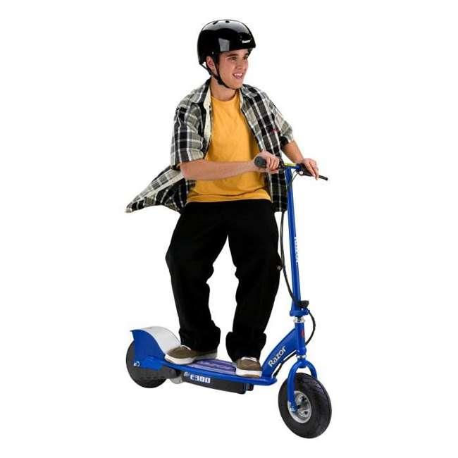 13113640 + 97778 Razor E300 Electric Scooter (Blue) & Youth Helmet (Black) 2