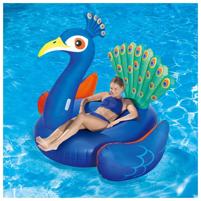 """P4A024521167+K50525000167+K50617000167 Summer Waves 24' x 52"""" Frame Pool Set + Pink Flamingo, Peacock and Swan Floats 9"""
