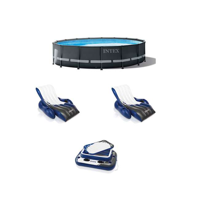 26325EH + 2 x 58868EP + 58821EP Intex 26325EH, Inflatable Cooler & Lounger