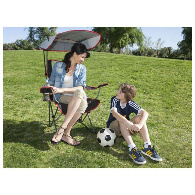80185 + 80187 Kelsyus Premium Portable Camping Folding Lawn Chairs with Canopy, Blue & Black 11