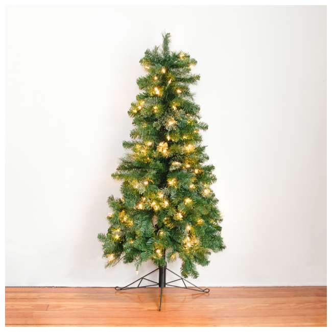 TG5000GHDL00-U-B Home Heritage 5' Flat Half Christmas Tree for Wall w/ White LED Lights (Used) 6