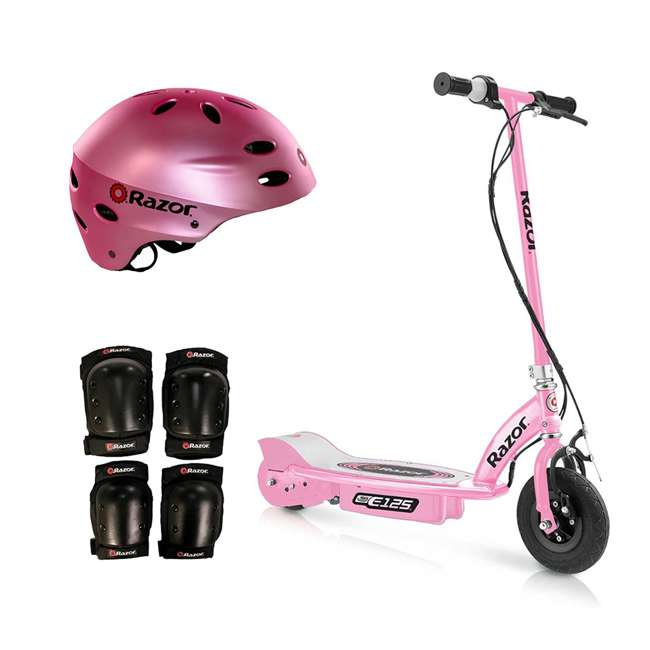 13111163 + 97783 + 96785 Razor Motorized Rechargeable Pink Electric Scooter w/ Pink Helmet & Safety Set