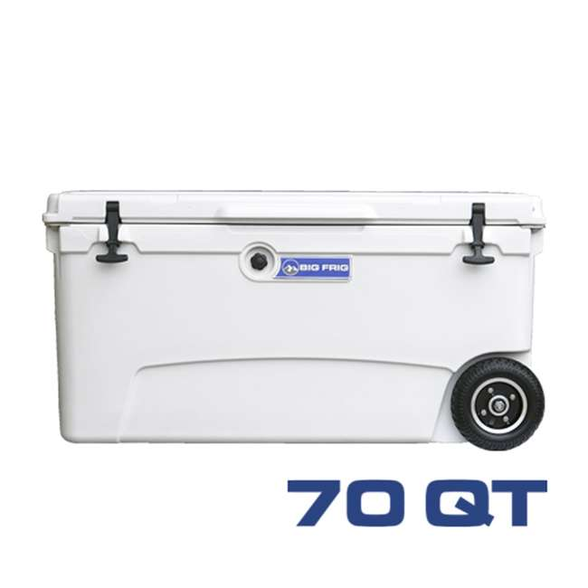 BFDB70WS-WH Big Frig Denali 70 Quart Insulated Wheeled Camp Cooler with Accessories, White