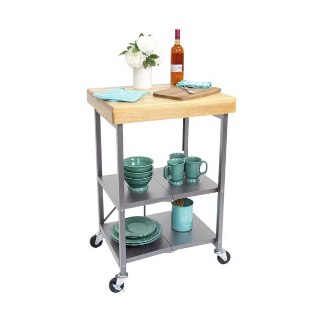 RBT-02 Origami Foldable Wheeled Kitchen Island Cart, Silver 5
