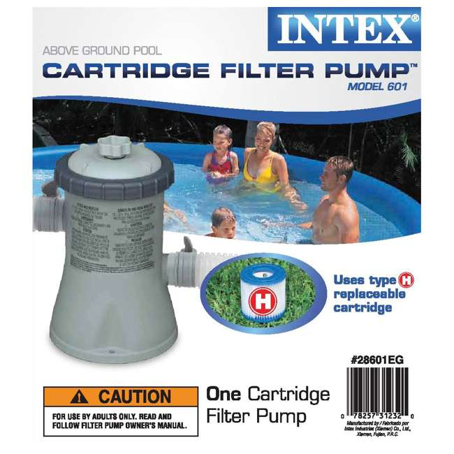 28200EH + 28601EG Intex 10 x 2.5 Foot Round Metal Frame Above Ground Pool + 330 GPH Filter Pump 4