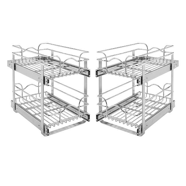 """5WB2-0918-CR Rev-A-Shelf 9"""" W 18"""" D Base Kitchen Cabinet 2 Tier Pull Out Wire Basket (2 Pack)"""