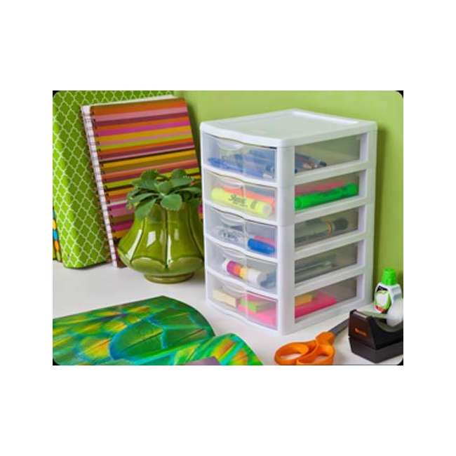 4 x 20758004-U-A Sterilite Clearview Small 5 Drawer Desktop Storage Unit White (Open Box)(4 Pack) 2