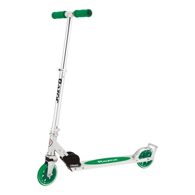 13014360 + 13014330 Razor A3 Aluminum Portable Kids Kick Scooter w Wheelie Bar, Red & Green (2 Pack) 8