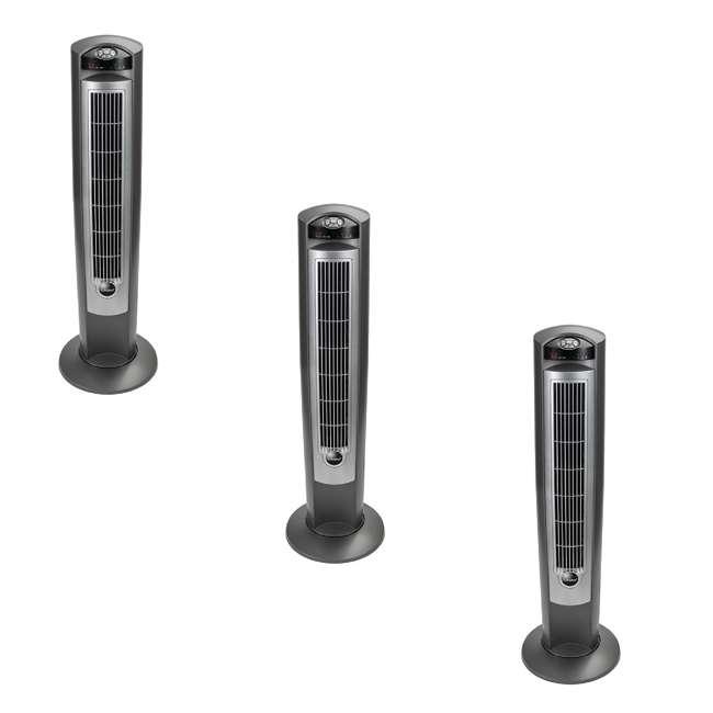 3 x LKO-T42951-TN Lasko Wind Curve Nighttime Setting Tower Fan with Remote Control, Silver(3 Pack)