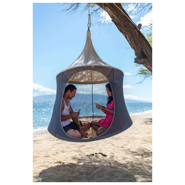 TP1600TC + BYHT9001 TreePod Cabana 6' Hanging Mesh Daybed Tent, Terracotta w/ Stand 4