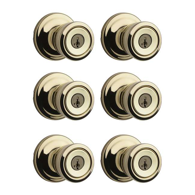 6 x 97402-798 Kwikset Abbey Keyed Locking Handle Door Knob Set, Polished Brass (6 Pack)