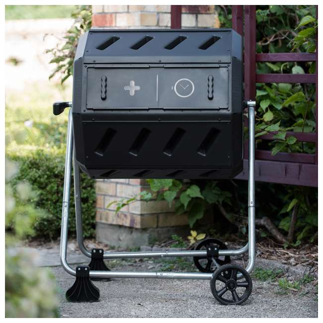 IM4000-WK FCMP Outdoor IM4000-WK 37 Gallon Dual Chamber Quick Curing Rotating Tumbling Composter Bin 3