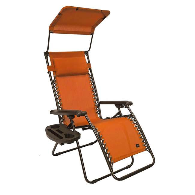 GFC-439TC Bliss Hammocks GFC-439TC 26 Inch Zero Gravity Chair with Canopy and Tray, Orange