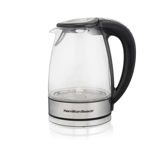 40941-HB Hamilton Beach 1.7 Liter Clear Glass Programmable Electric Tea Kettle 1